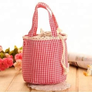 Insulated Drawstring Red & White Picnic Tote/Pouch